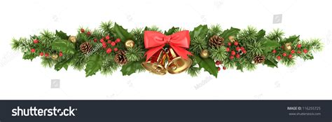 Decorative Border Christmas Tree Branches Holly Stock