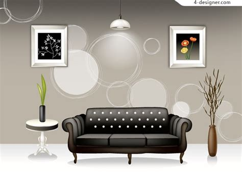Home Interior Vector : Stylish Interior Home Design Vector Material