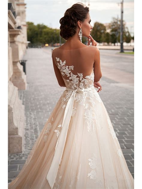A Line See Through Back Lace Wedding Dresses Bridal Gowns