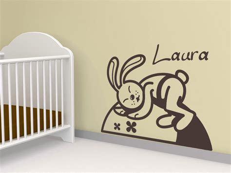 Wandtattoo Kinderzimmer Hase by Wandtattoo Schlafender Hase Mit Wunschname Wandtattoos De