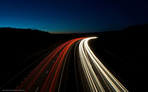 Download Wallpaper Landscapes, Road, Light, Night Free