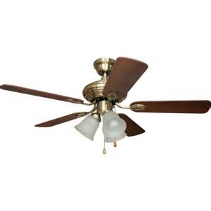 Home Elegance 42 inch Dual Mount Ceiling Fan, Antique Brass, Brown