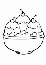 Ice Cream Coloring Pages Bowl Printable Sandwich Template Sheet Sundae Scoop Sheets Three Strawberry Cartoon Clipartmag Date sketch template