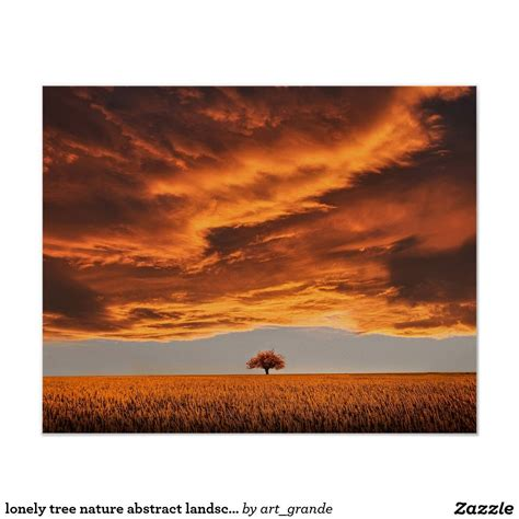 lonely tree nature abstract landscape poster zazzlecom