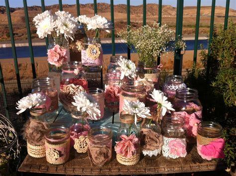 rustic pink wedding decor 15 bulk burlap lace jars