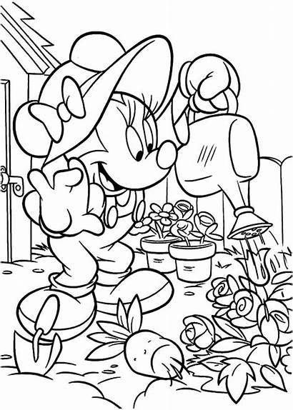 Coloring Garden Pages Minnie Gardening Mouse Printable