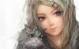 Картинка Девушка с кошкой » Аниме » Картинки 24 - скачать ...