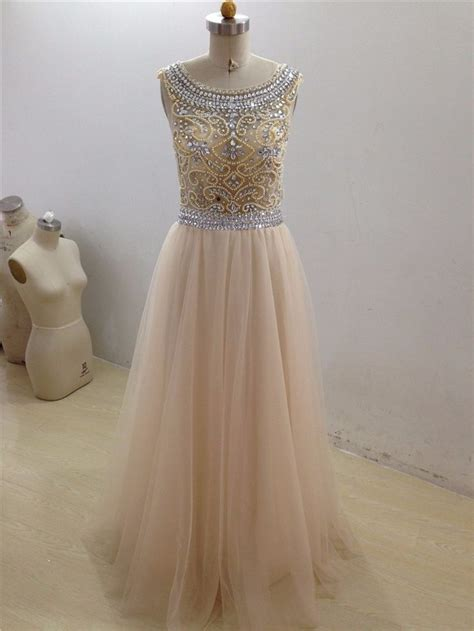 Beaded Prom Dress With Illusion Bodice   Sparkly prom ...