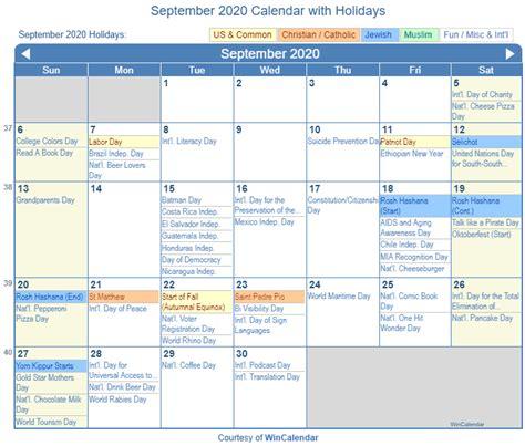 Print Friendly September 2020 US Calendar for printing