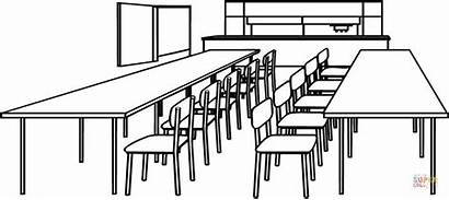 Classroom Coloring Clipart Tables Colouring Chair Chairs