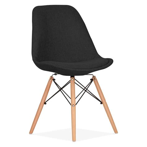 eames inspired black upholstered dining chair  dsw legs cult uk