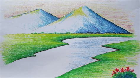 Easy Mountain Landscape Drawing Landscape Color Drawing