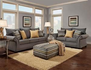 Jitterbug, Gray, Sofa, And, Loveseat