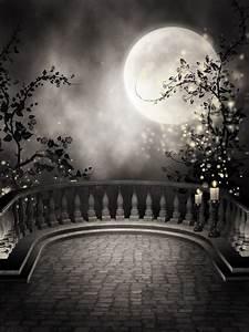 fototapete gothic balkon mit kerzen und dem mond o pixers With balkon teppich mit gothic tapete