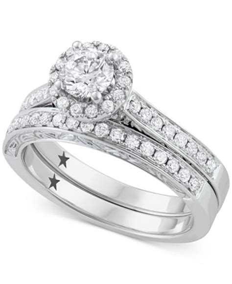 macy s signature bridal 1 ct t w in 14k white gold rings jewelry