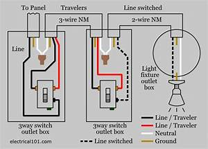 3 way switch wiring electrical 101 With wiring diagram moreover electrical outlet light switch wiring diagrams