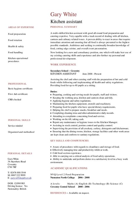 Catering Assistant Manager Cv Exles by Kitchen Assistant Cv Hashdoc