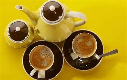 Coffee Yellow Cups Teapot Ceramic Drinks Skin