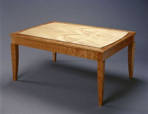 handmade cherry with curly maple coffee table by hugh