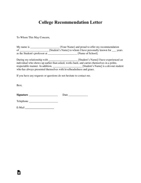 Recommendation Letter Template Free College Recommendation Letter Template With Sles