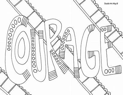 Courage Coloring Pages Doodle Word Alley Words