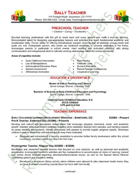 Kindergarten Teachers Resume by Preschool Resume Tips And Sles