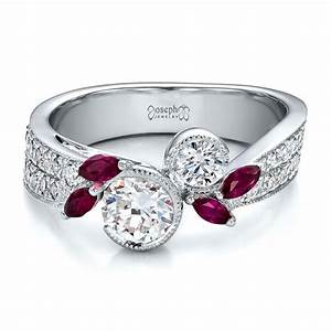Custom marquise ruby and diamond engagement ring 100138 for Wedding rings with rubies and diamonds