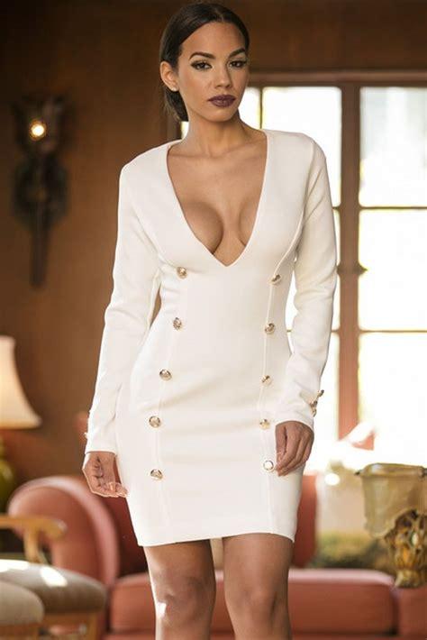 white long sleeve deep  bodycon mini dress  store