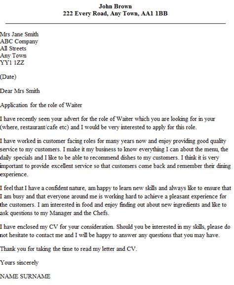 contoh application letter waiter excellent job