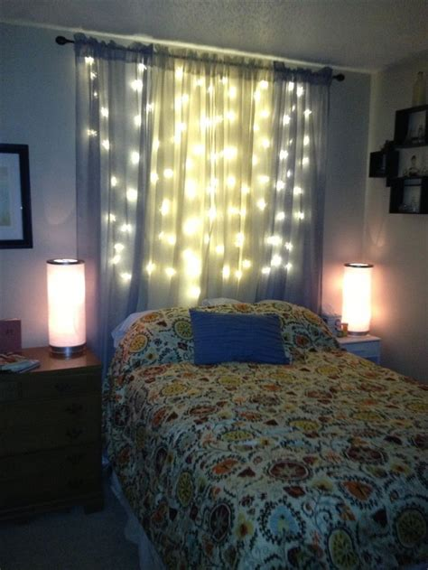 beds with lights in headboard christmas lights and sheer curtains as a light headboard