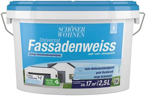 Schöner Wohnen Hybrid Fassadenfarbe by Sch 246 Ner Wohnen Farbe Hybrid Fassadenfarbe 187 2 5l Weiss