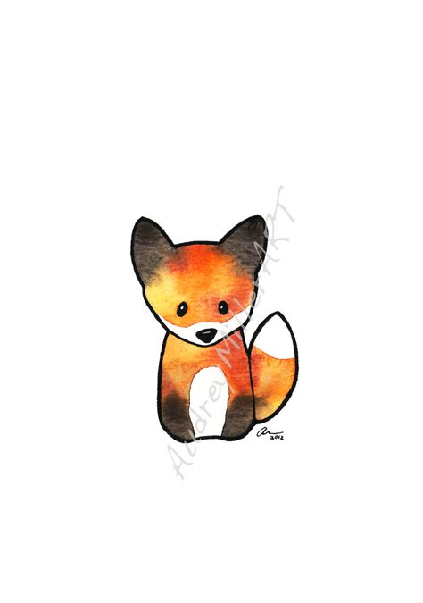 The Fox Art Illustration Print Fall Orange