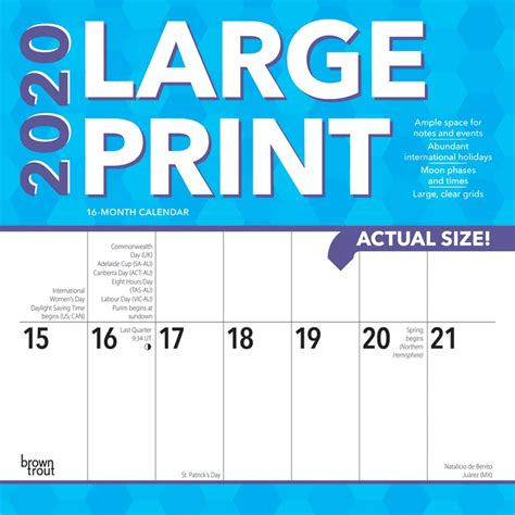 large print monthly square wall calendar easy