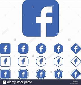 Set of Facebook flat icon on a white background isolated ...