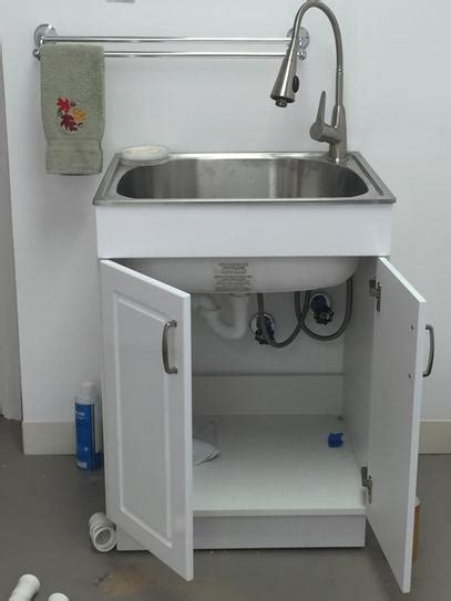 utility sink with storage glacier bay all in one 24 2 in x 21 35 in x 33 85 in
