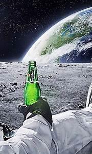 Astronaut Drinking Carlsberg Beer Moon Space Wallpapers ...