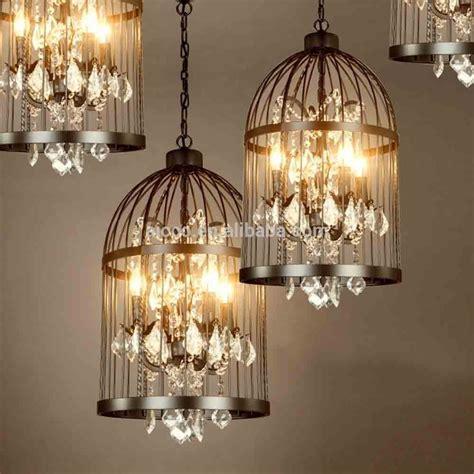 vintage industrial pendant light bird cage  crystal