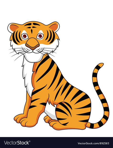 tiger cartoon royalty  vector image vectorstock
