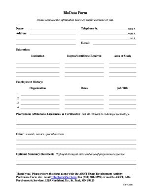 Sle Resume Biodata Blank Form by Biodata Form Fill Printable Fillable Blank Pdffiller