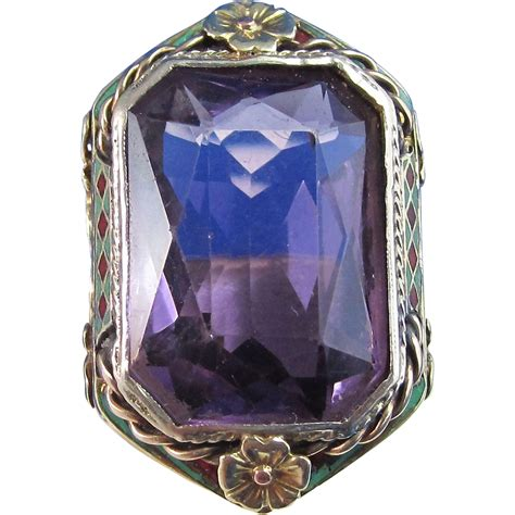 deco amethyst ring deco 1920 s estate 14 60 carat amethyst birthstone engagement ring from mayfairjewel on ruby