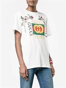 Lyst - Gucci u0026#39;fake u0026#39; Embroidered T-shirt in White