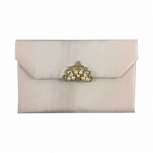 blush pink silk envelope with crown pearl brooch luxury With silk envelope wedding invitations