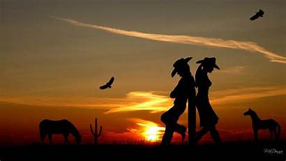 Western Country Sunset Cowboy Backgrounds Silhouette Cowgirl