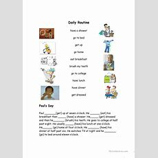 Daily Routine Vocabulary Match Worksheet  Free Esl Printable Worksheets Made By Teachers
