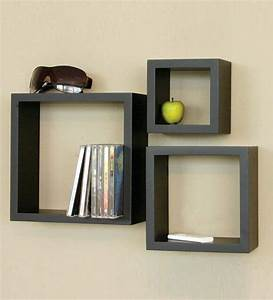 Home sparkle wooden cube wall shelves set of by