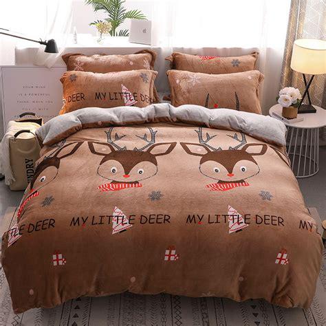flannel velvet bedding sheet 4 pieces bed quilt cover