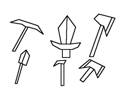 Mobile Minecraft Tools Sword Coloring Pages