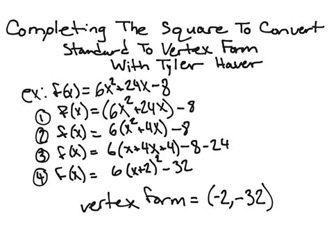showme complete the square and vertex form
