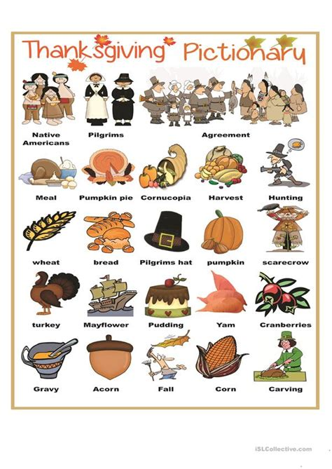 thanksgiving pictionary worksheet  esl printable