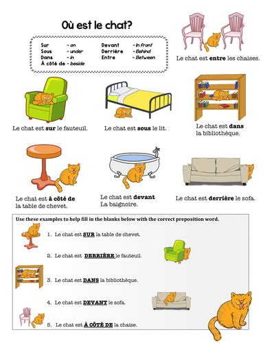 french preposition practice  chezgalamb teaching